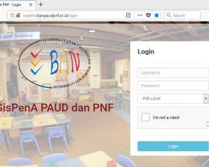 Halaman Login Sistem Informasi Penilaian Akrediasi PAUD - SisPenA