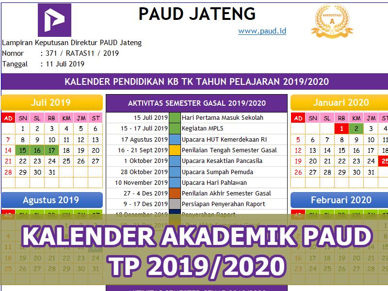 Kalender Akademik Kb Tk 2019 2020 Bisa Edit Paud Jateng